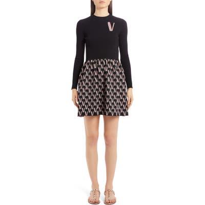 Valentino Logo Jacquard Long Sleeve Sweater Minidress, Black