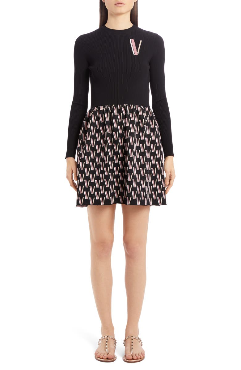VALENTINO Logo Jacquard Long Sleeve Sweater Minidress, Main, color, 001