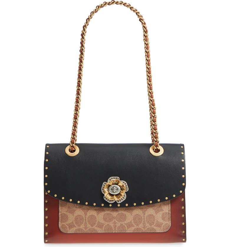 COACH Parker Leather & Genuine Snakeskin Shoulder Bag, Main, color, 001