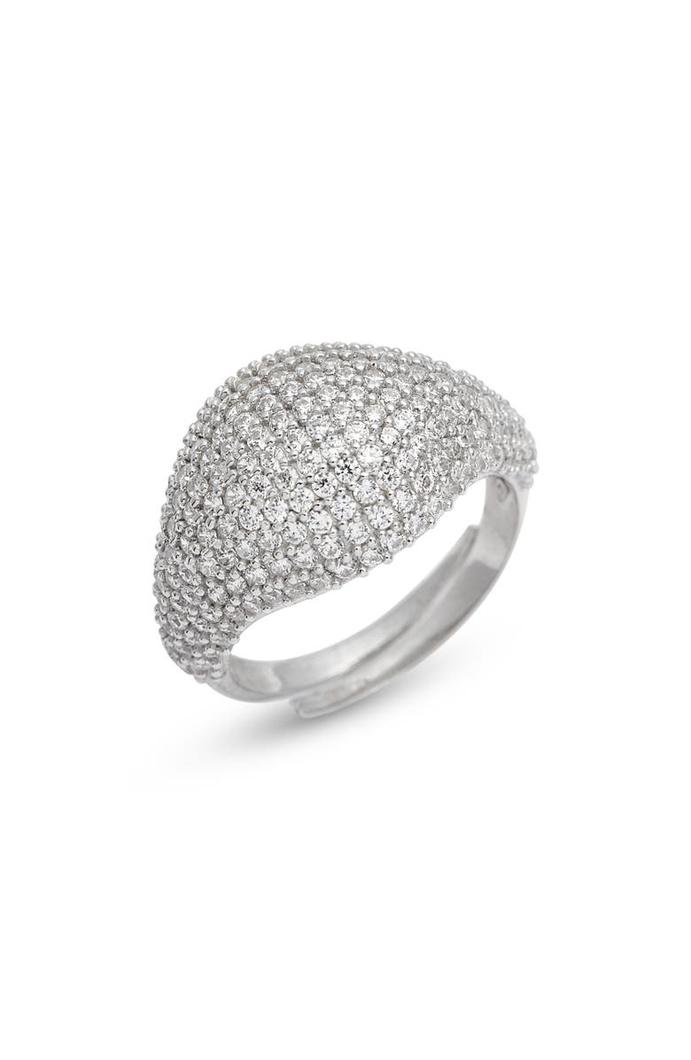 ADINA'S JEWELS Adina's Jewels Pavé Pinky Ring, Main, color, SILVER