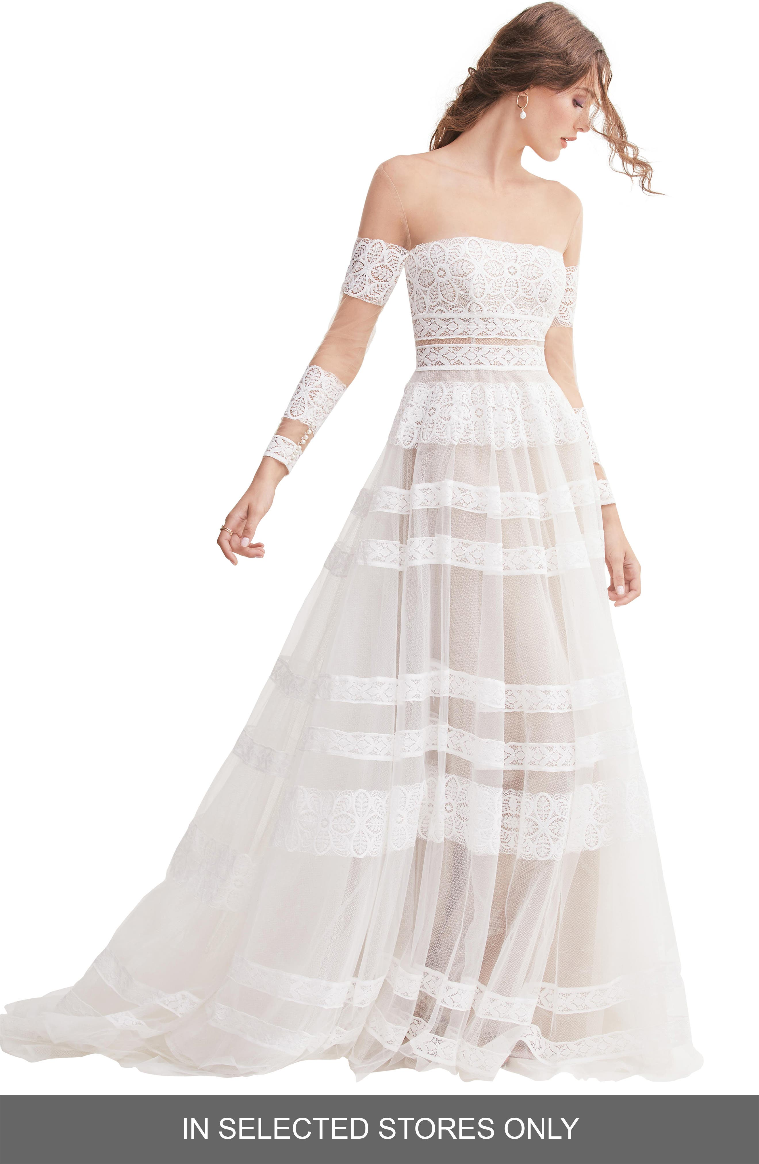 Willowby Lennon Illusion Off The Shoulder Lace & Tulle Wedding Dress, Size IN STORE ONLY - Ivory