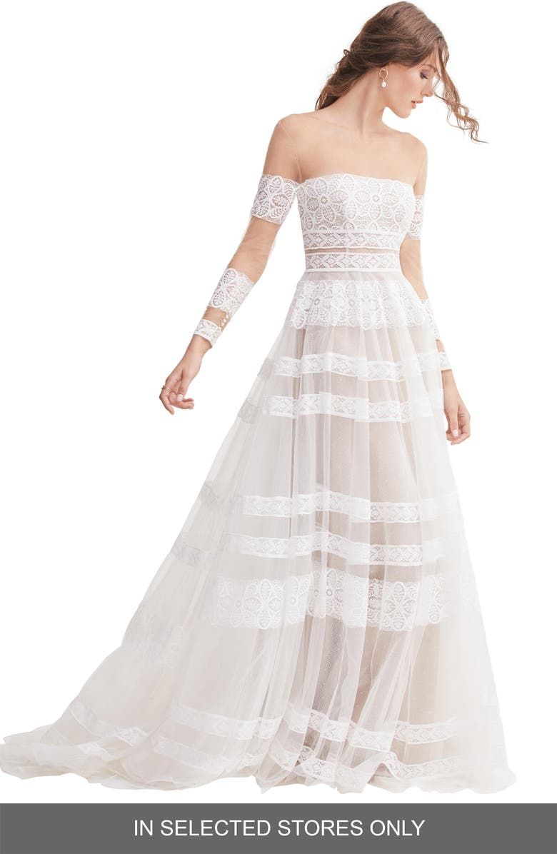 WILLOWBY Lennon Illusion Off the Shoulder Lace & Tulle Wedding Dress, Main, color, IVORY/ BRONZE