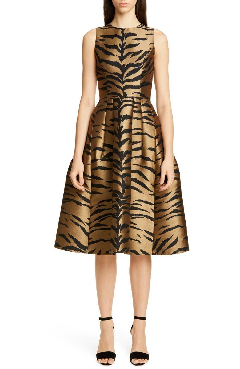 CAROLINA HERRERA Tiger Jacquard Fit & Flare Dress, Main, color, BROWN MULTI