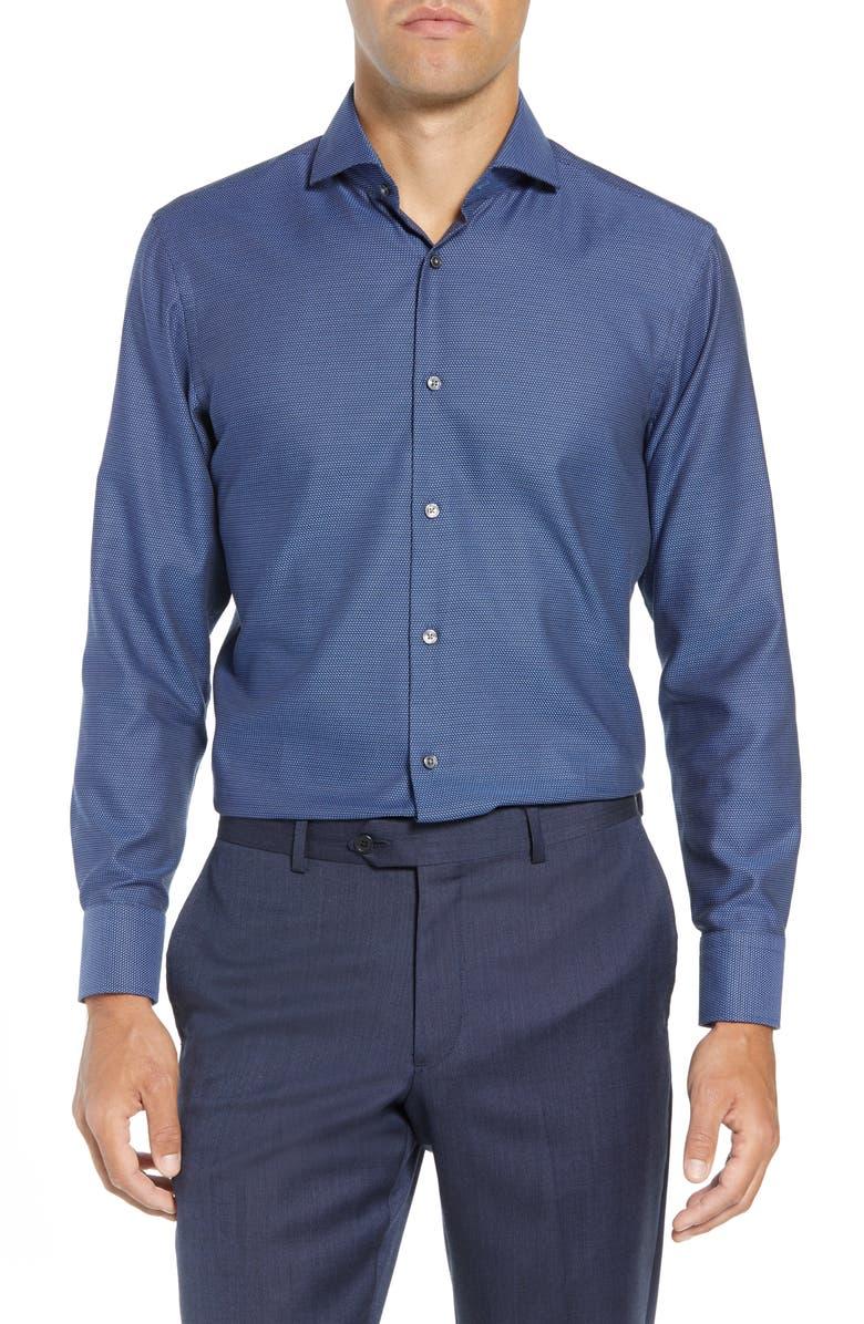 BOSS Mark Sharp Fit Dress Shirt, Main, color, NAVY