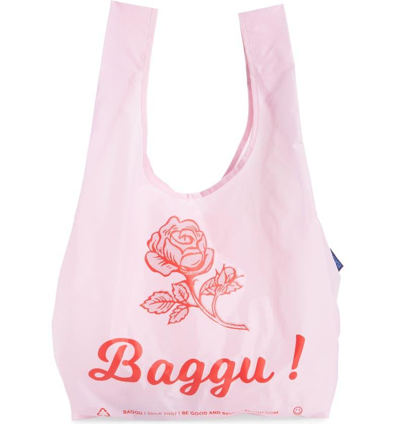 BAGGU <sup>®</sup> Standard Logo Ripstop Nylon Tote, Main, color, THANK YOU ROSE