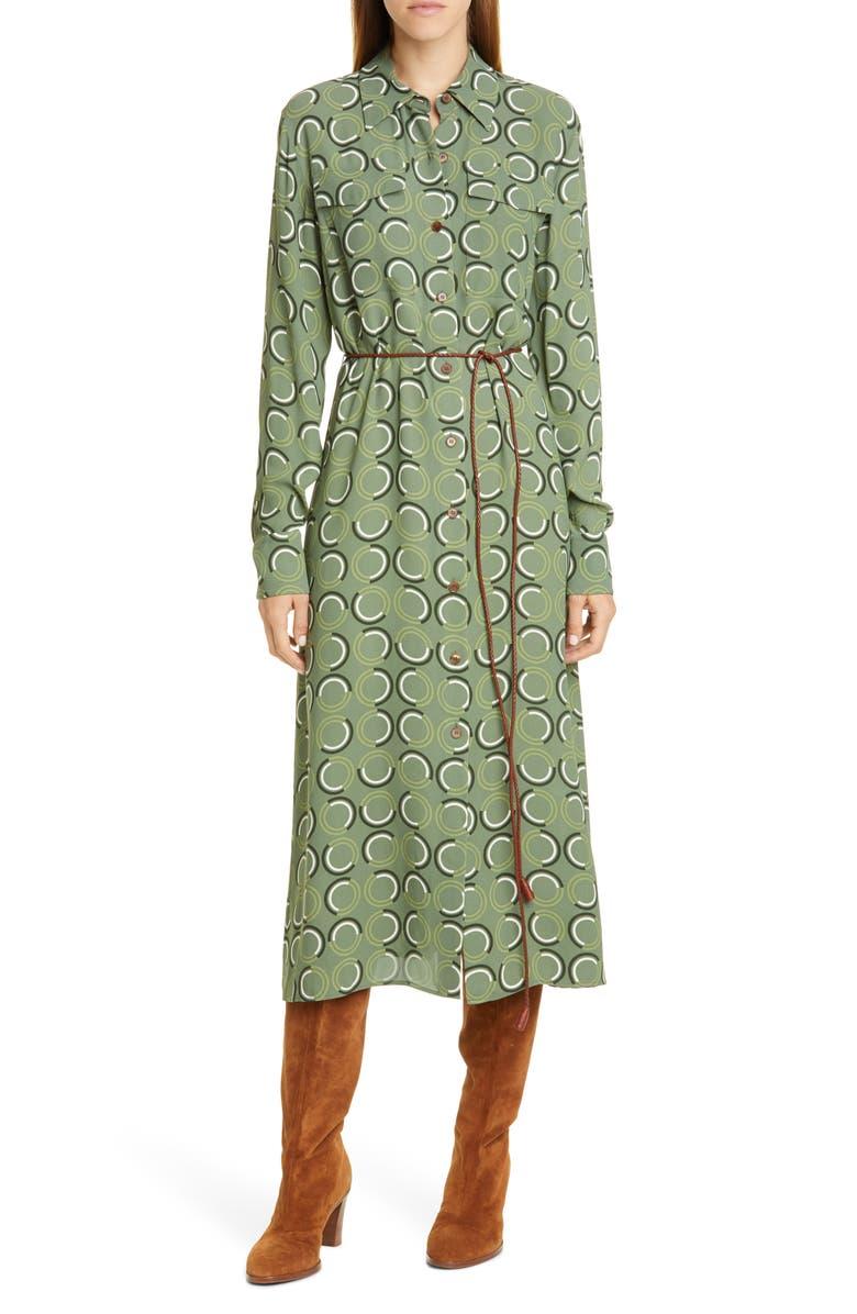 LAFAYETTE 148 NEW YORK Mandalyn Print Long Sleeve Midi Shirtdress, Main, color, MIST GREEN MULTI
