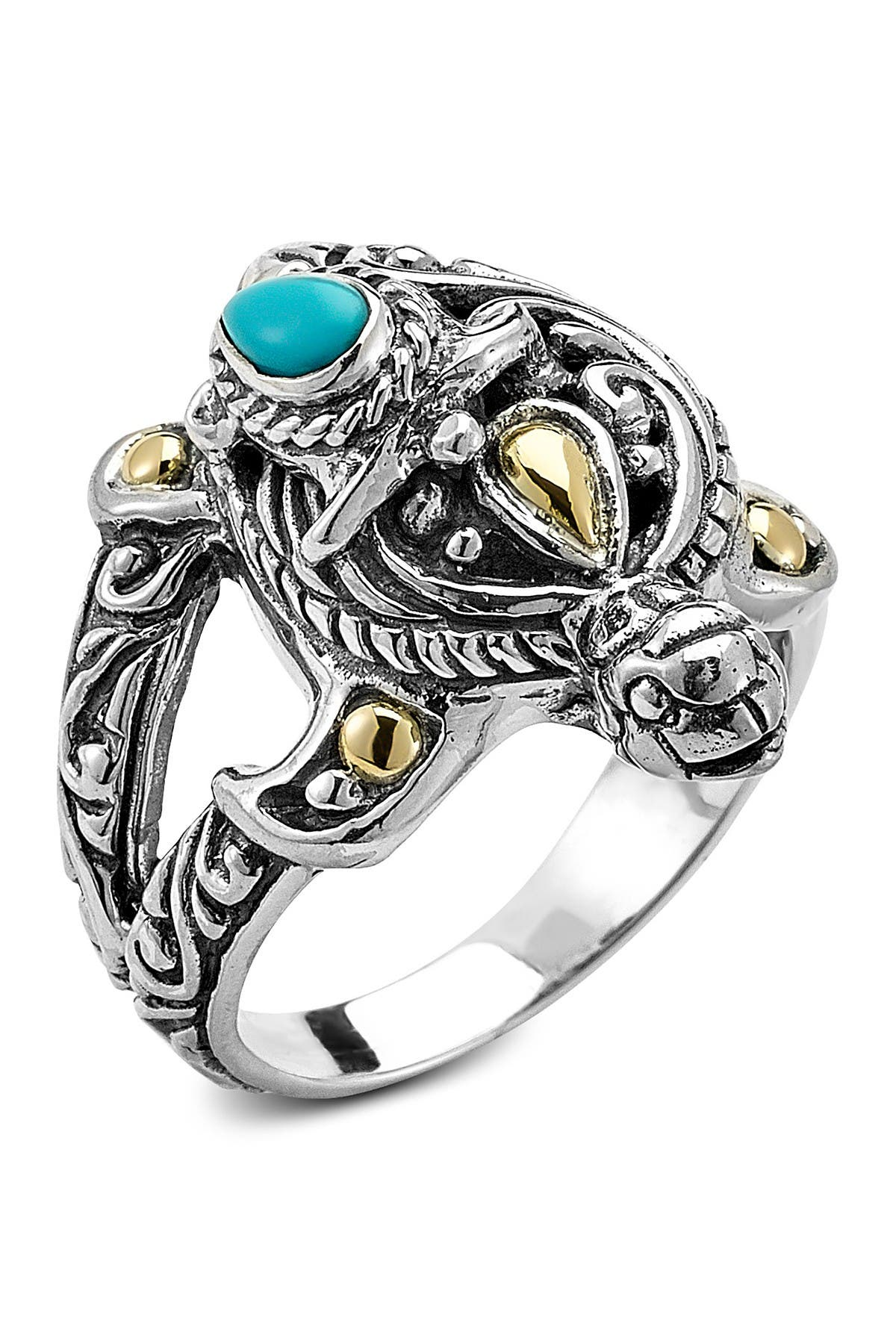 Image of Samuel B Jewelry Sterling Silver 18K Turtle Ring W/ Sleeping Beauty Turquoise