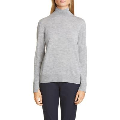 Lafayette 148 New York Split Detail Mock Neck Wool Sweater, Grey