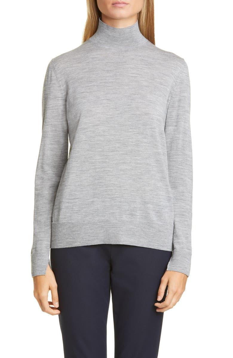 LAFAYETTE 148 NEW YORK Split Detail Mock Neck Wool Sweater, Main, color, LIGHT NICKEL
