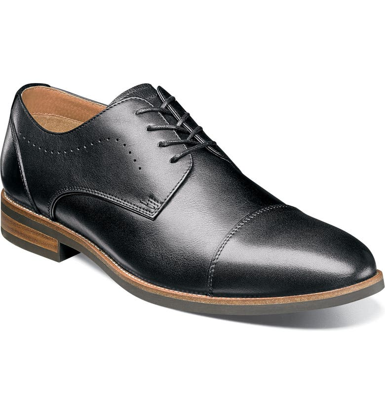 FLORSHEIM Uptown Cap Toe Derby, Main, color, BLACK LEATHER
