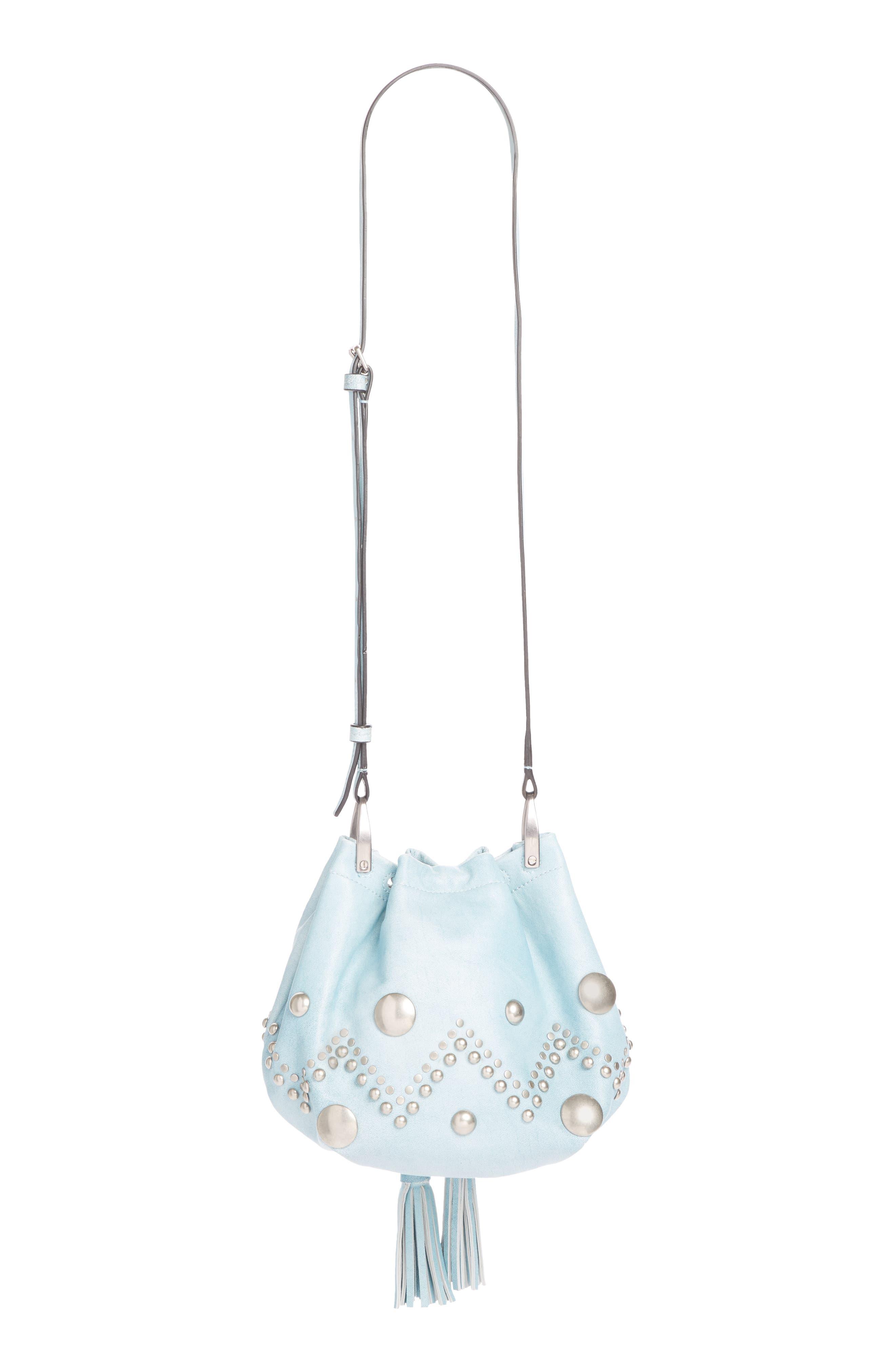 ,                             Kylio Studded Lambskin Suede Bucket Bag,                             Alternate thumbnail 3, color,                             BLUE
