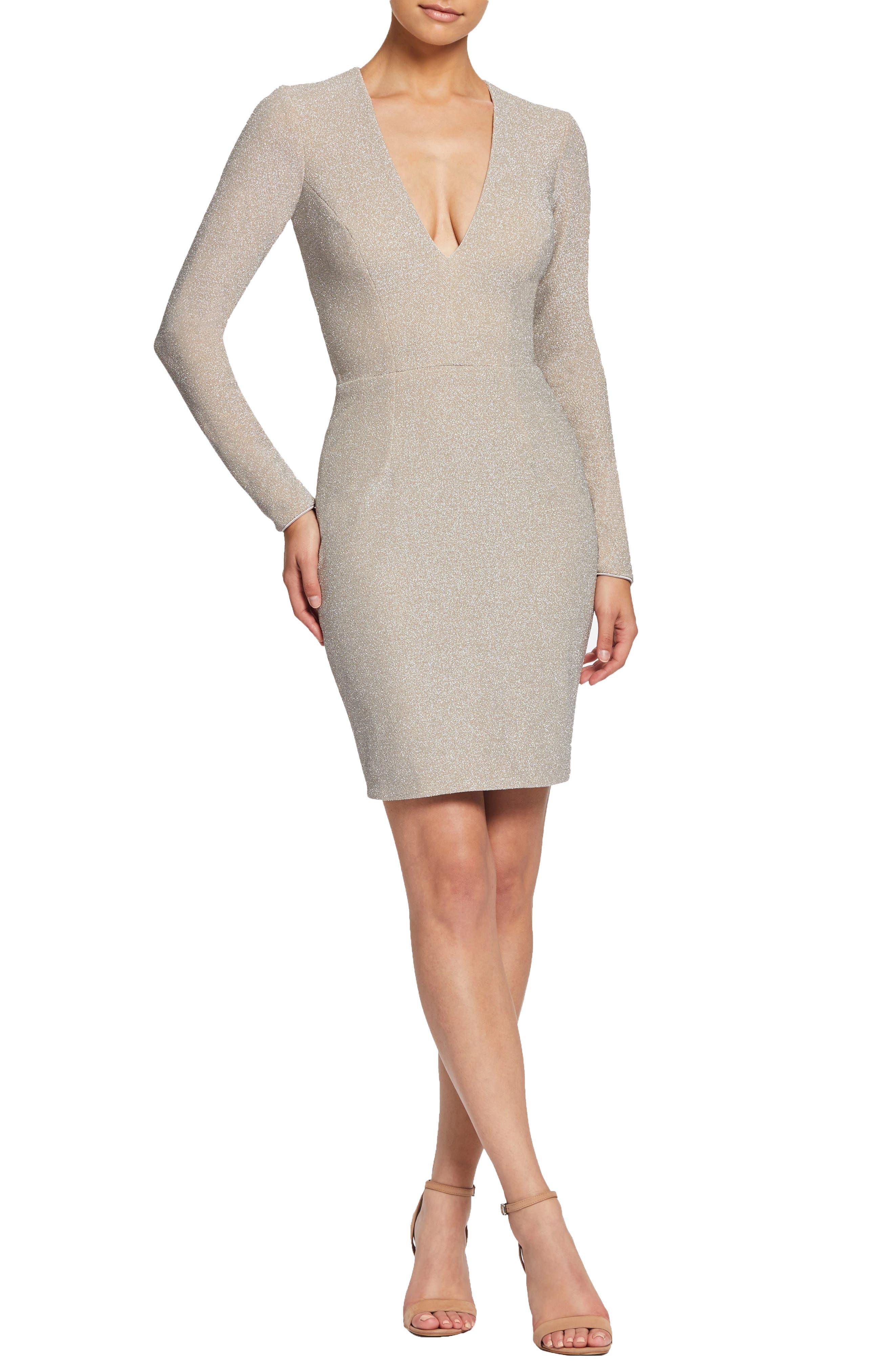 ,                             Riley Plunge Neck Metallic Sheath Dress,                             Main thumbnail 6, color,                             040