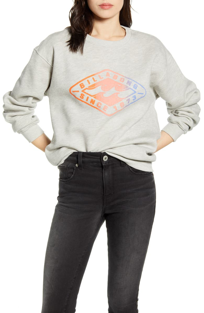 BILLABONG Diamond Life Graphic Sweatshirt, Main, color, ATHLETIC GREY