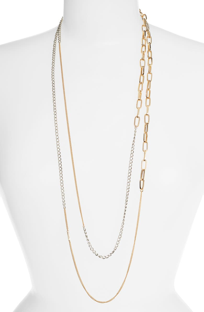 ALLSAINTS Long Mixed Chain Necklace, Main, color, SILVER/ GOLD