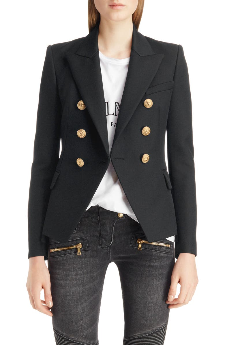 BALMAIN Double Breasted Wool Blazer, Main, color, 001