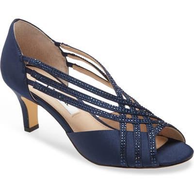 Nina Novita Crystal Embellished Strappy Pump- Blue