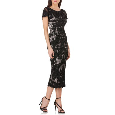 Js Collections Soutache Lace Midi Dress, Black