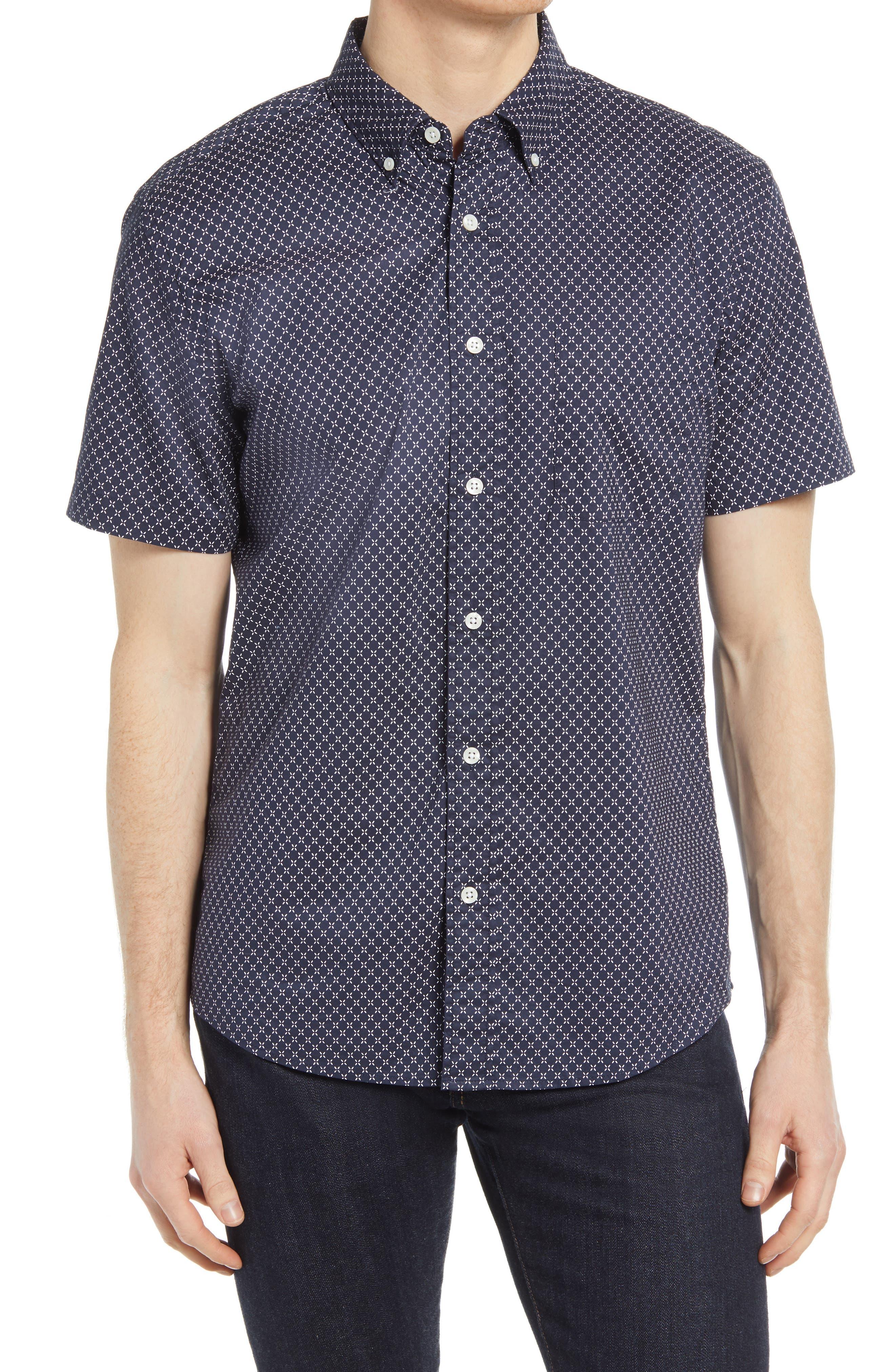 Playa Foulard Print Short Sleeve Button-Down Shirt