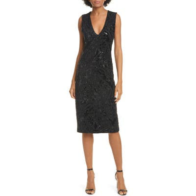Alice + Olivia Alba Sequin Sleeveless Dress, Black