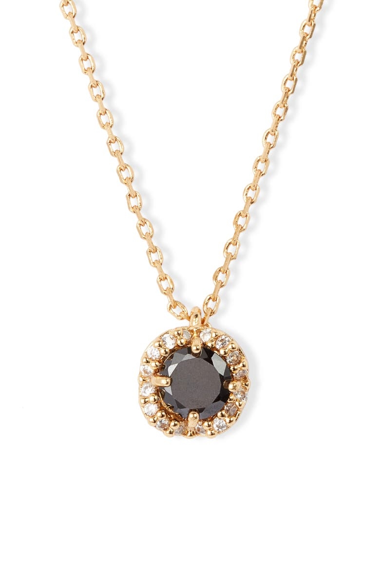 KATE SPADE NEW YORK pavé round mini pendant necklace, Main, color, 001