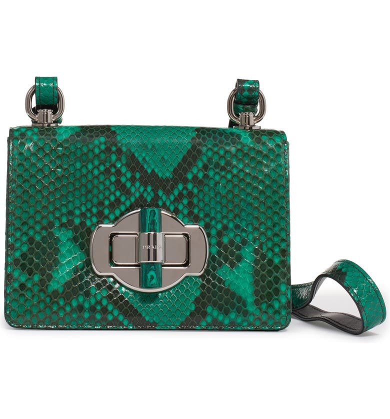 PRADA Genuine Python Flap Shoulder Bag, Main, color, MANGO