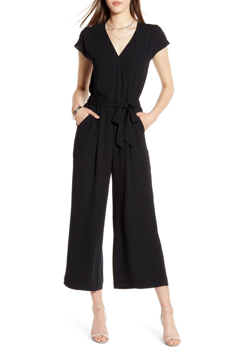 HALOGEN<SUP>®</SUP> Front Wrap Cropped Jumpsuit, Main, color, 001