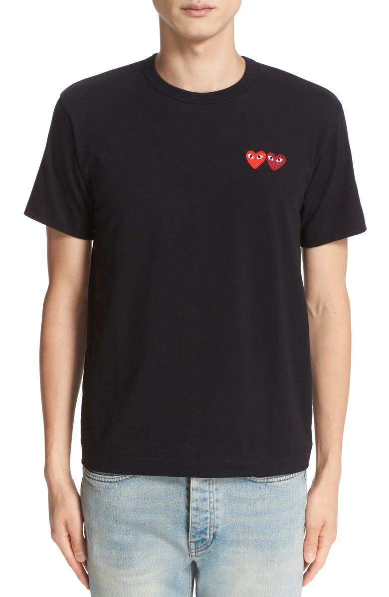 COMME DES GARÇONS PLAY Twin Hearts Slim Fit Jersey T-Shirt, Main, color, 001