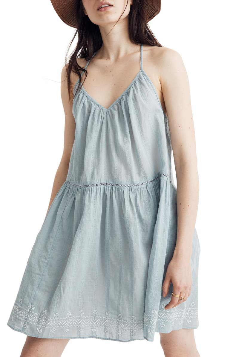 MADEWELL Embroidered Racerback Cover-Up Dress, Main, color, 400