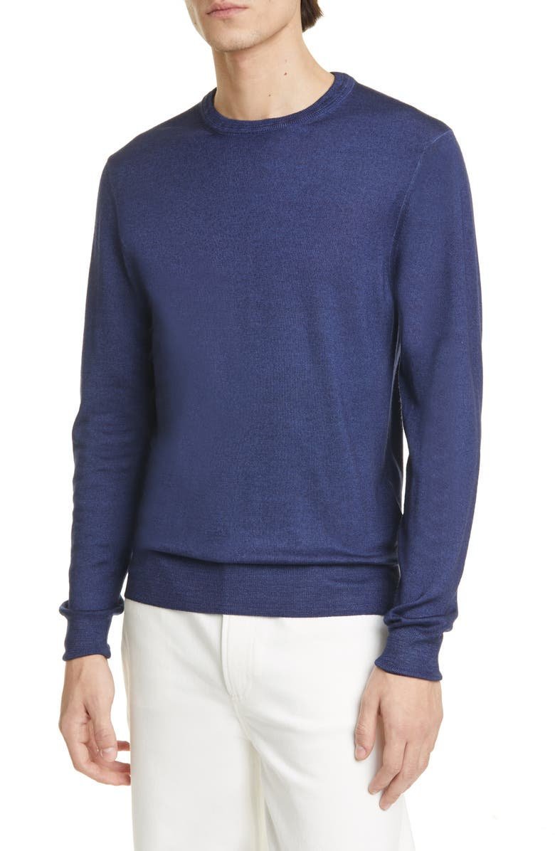 BOGLIOLI Trim Fit Wool Crewneck Sweater, Main, color, BLUE