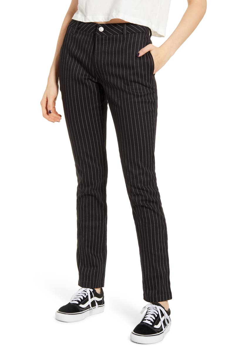 DICKIES Pinstripe Four Pocket Stretch Cotton Pants, Main, color, BLACK