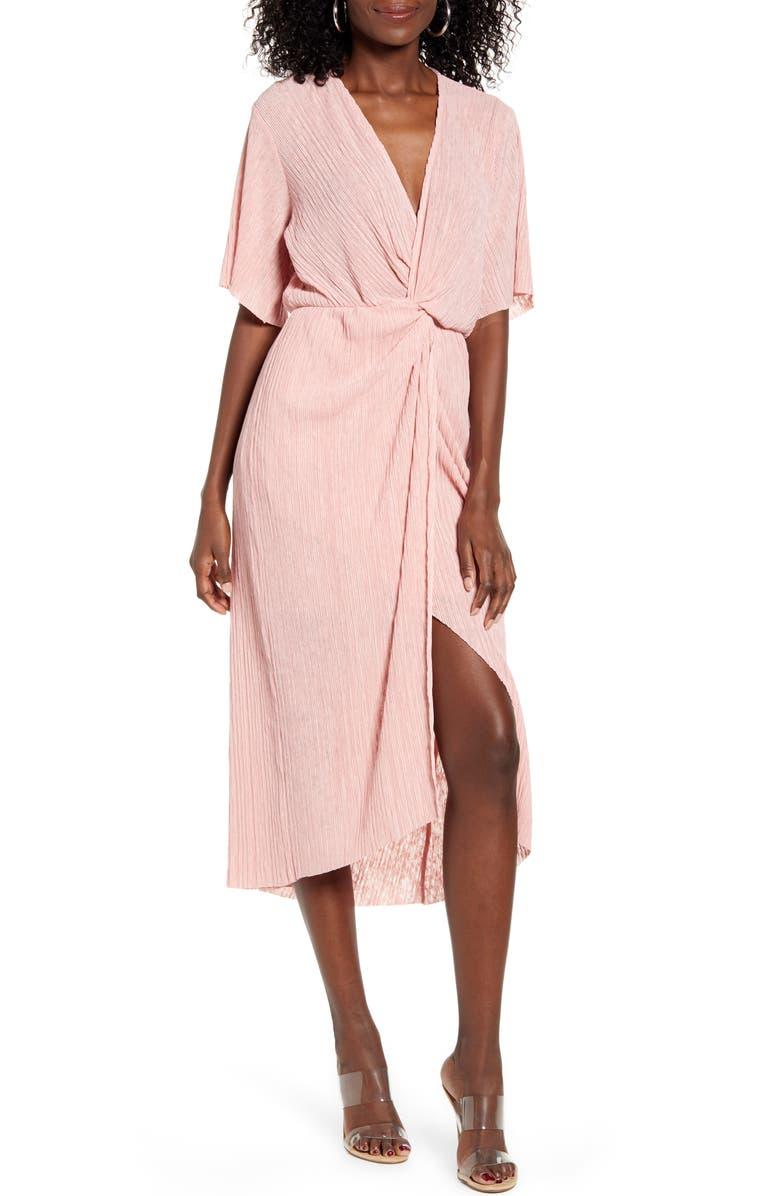 ALL IN FAVOR Dolman Plissé Midi Dress, Main, color, 663