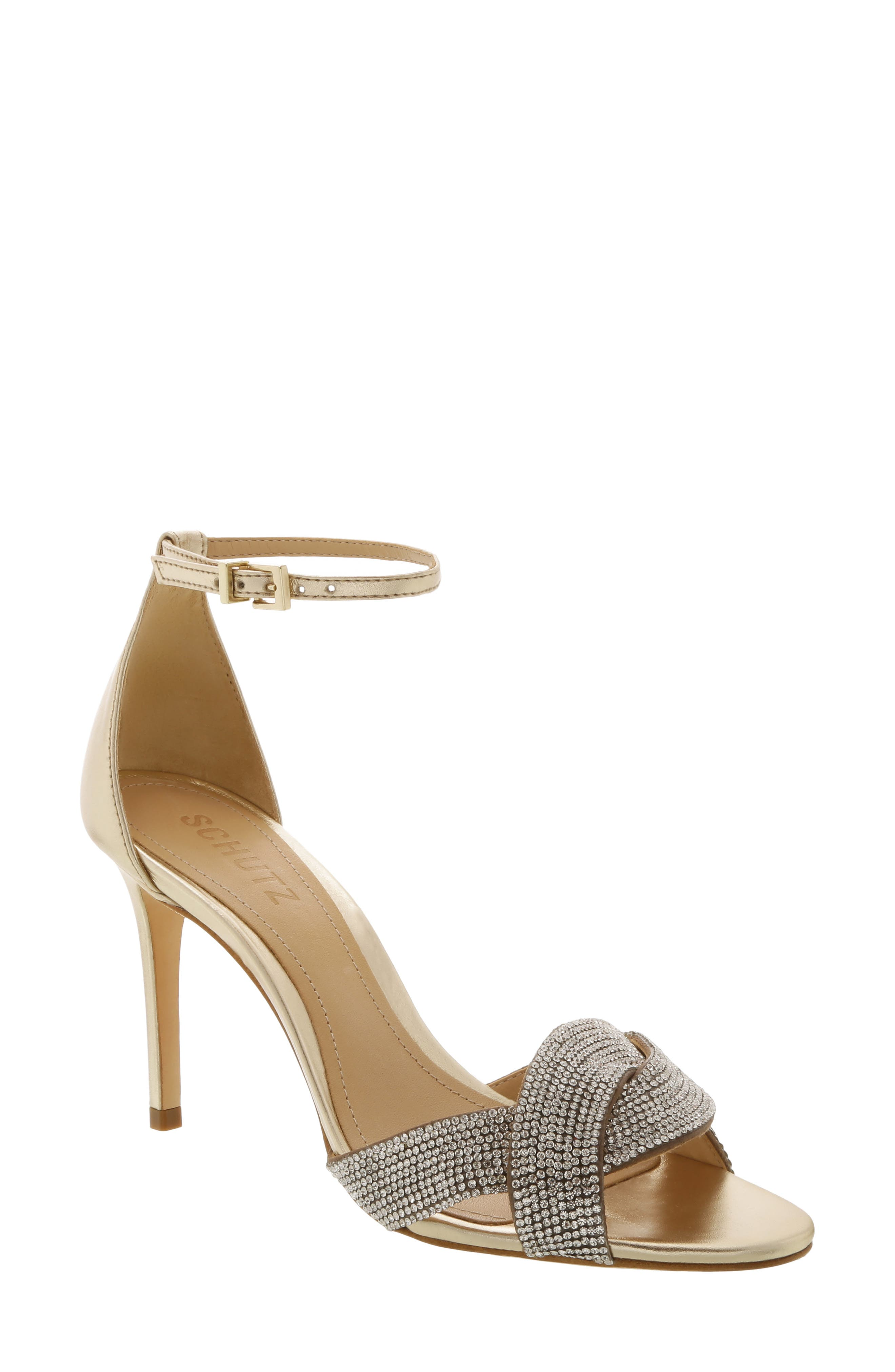 Schutz Jolita Ankle Strap Sandal, Metallic