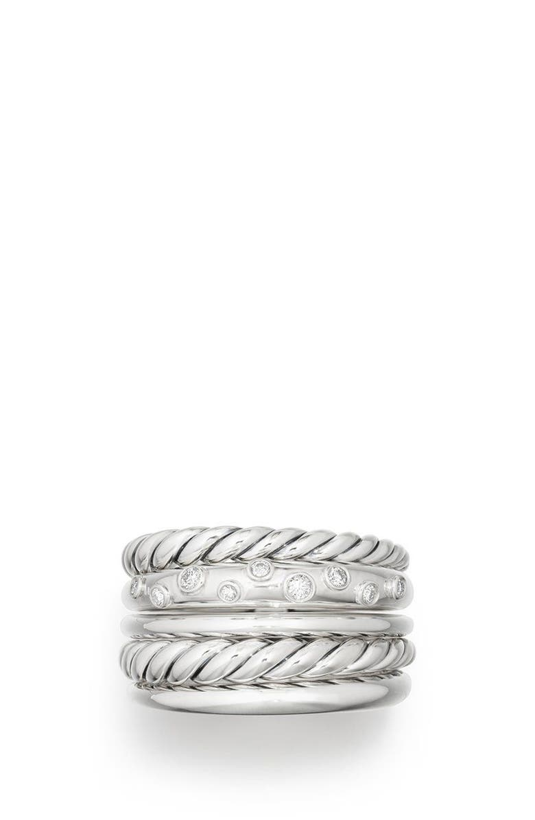DAVID YURMAN Pure Form<sup>®</sup> Wide Ring, Main, color, SILVER/ DIAMOND
