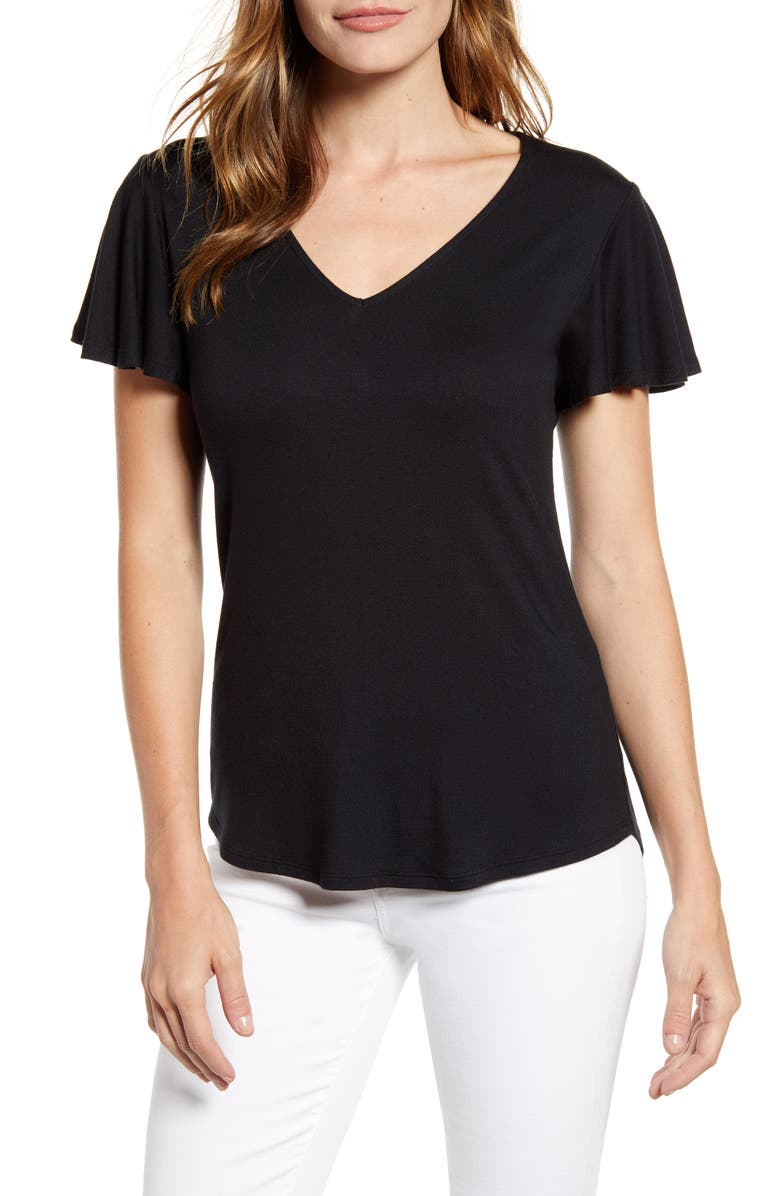 GIBSON x Hot Summer Nights Roselyn Flutter Sleeve V-Neck Tee, Main, color, 001