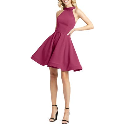 MAC Duggal High Neck Fit & Flare Party Dress, Pink