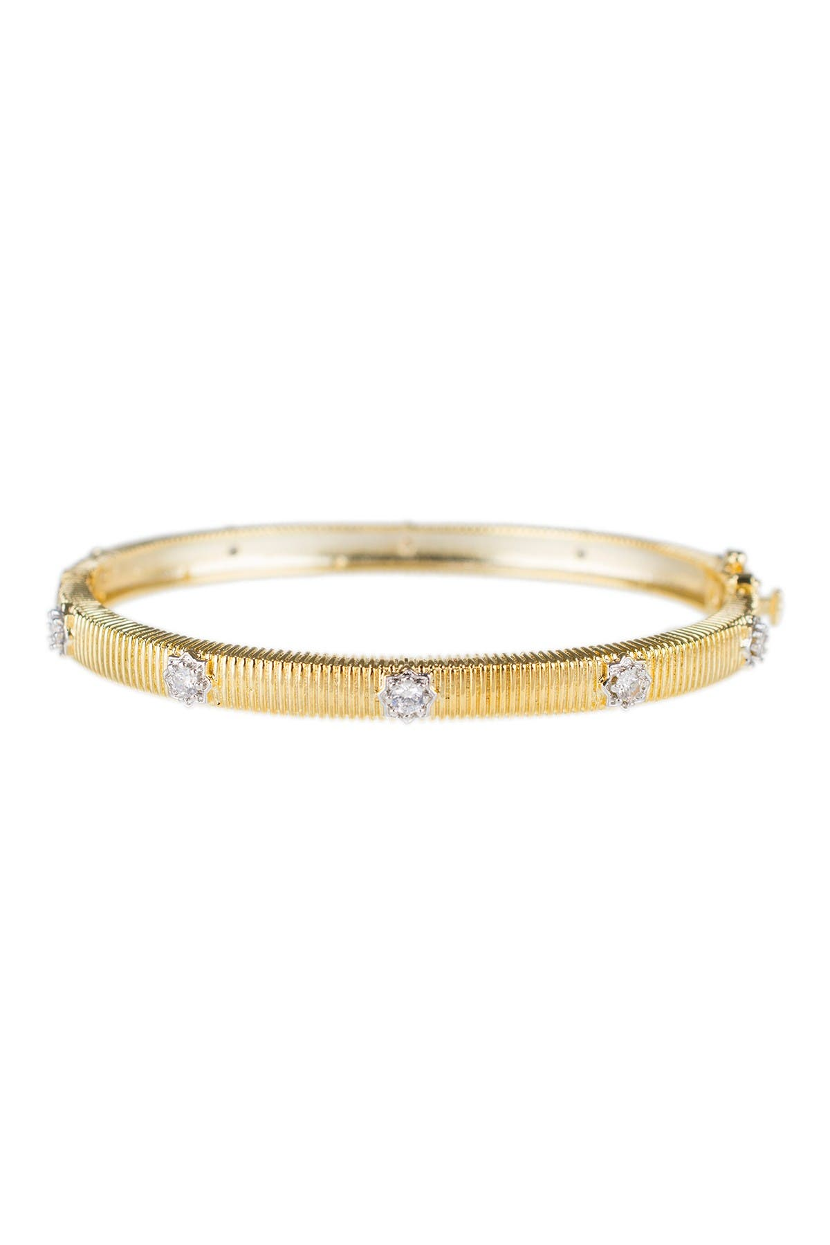 Image of CZ By Kenneth Jay Lane 18K Yellow Gold Plated CZ Starburst Bangle Bracelet