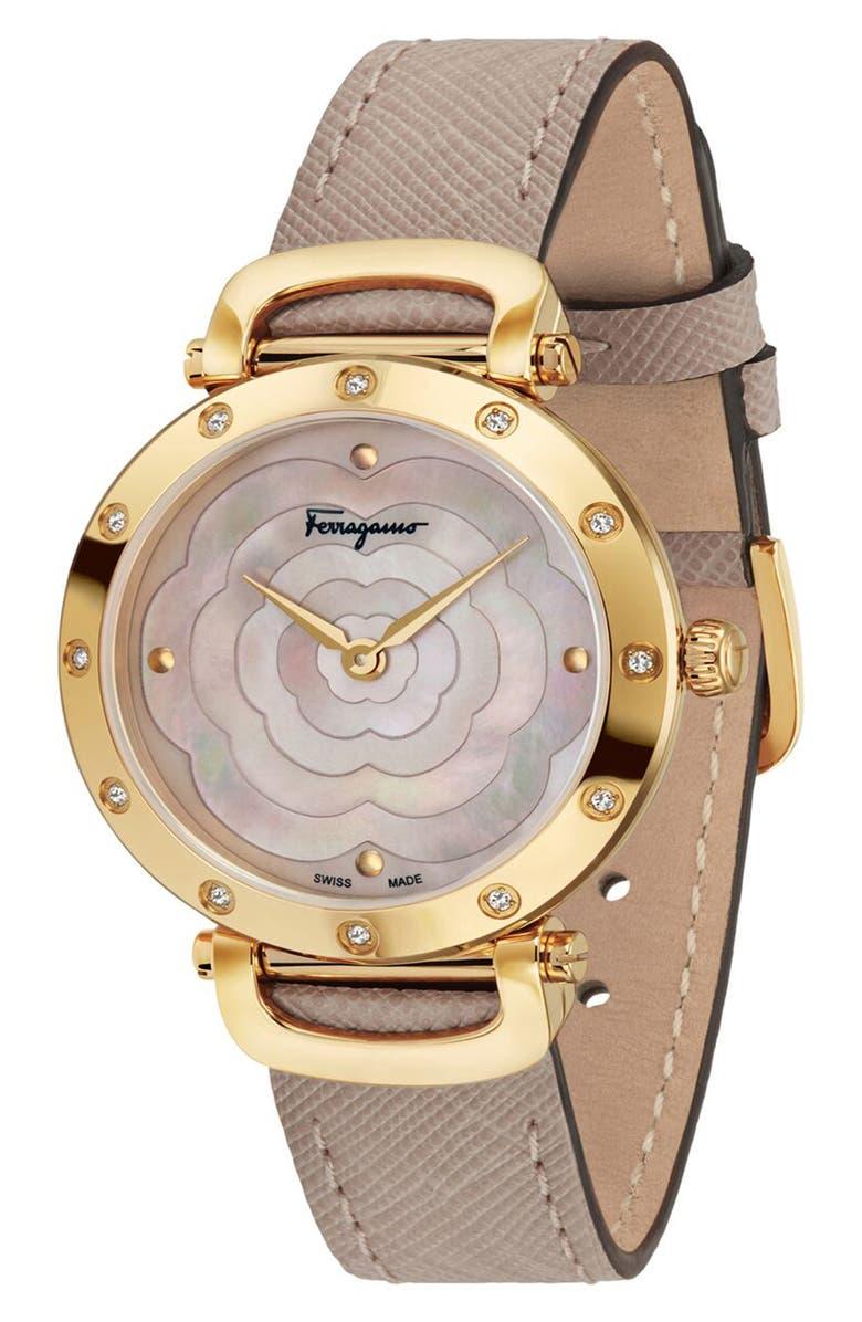 SALVATORE FERRAGAMO Diamond Leather Strap Watch, 34mm, Main, color, BEIGE/ PINK MOP/ GOLD
