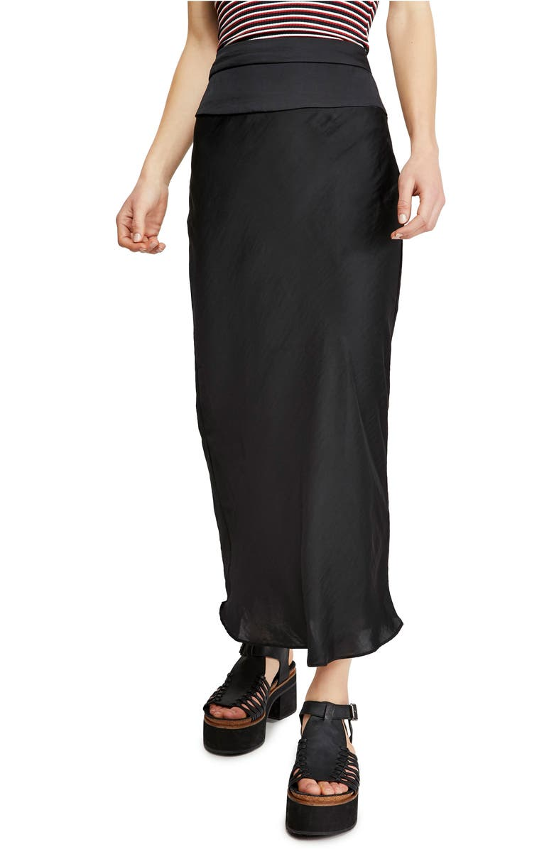 FREE PEOPLE Normani Bias Cut Satin Skirt, Main, color, 001