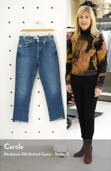 Riley High Waist Fray Hem Crop Straight Leg Jeans, sales video thumbnail