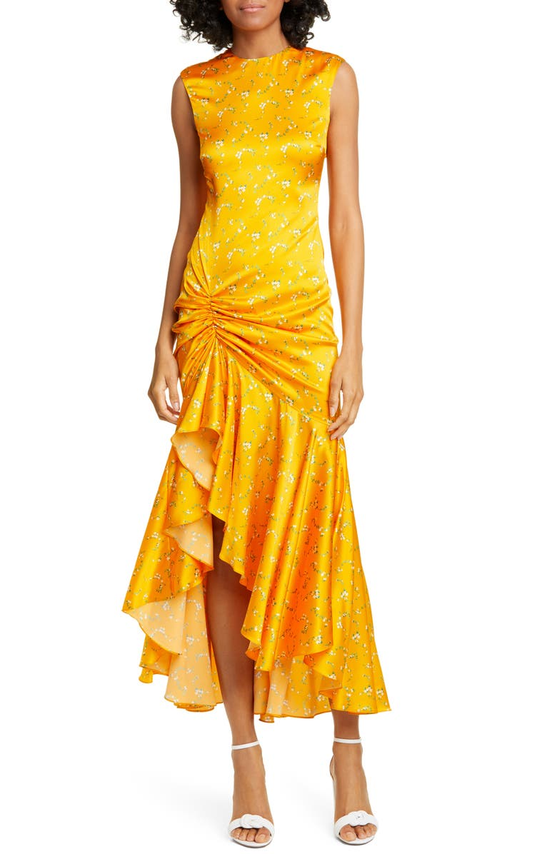 CAROLINE CONSTAS Lonnie Floral Print Ruched Dress, Main, color, TANGERINE
