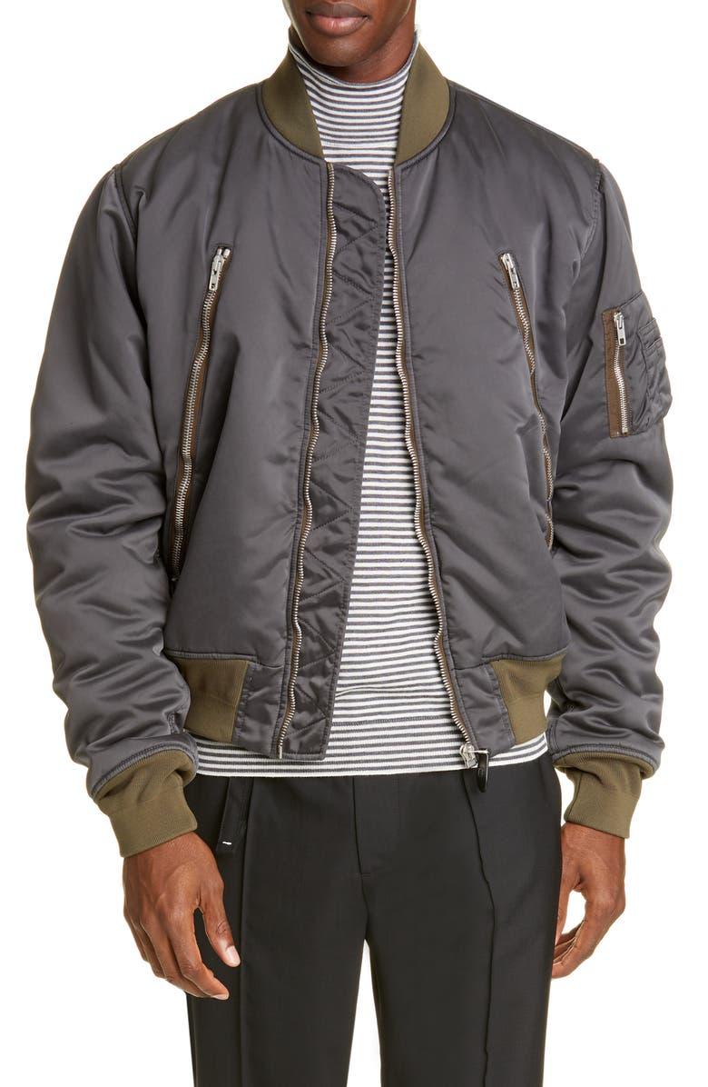 MAISON MARGIELA Zip Detail Bomber Jacket, Main, color, ANTHRACITE