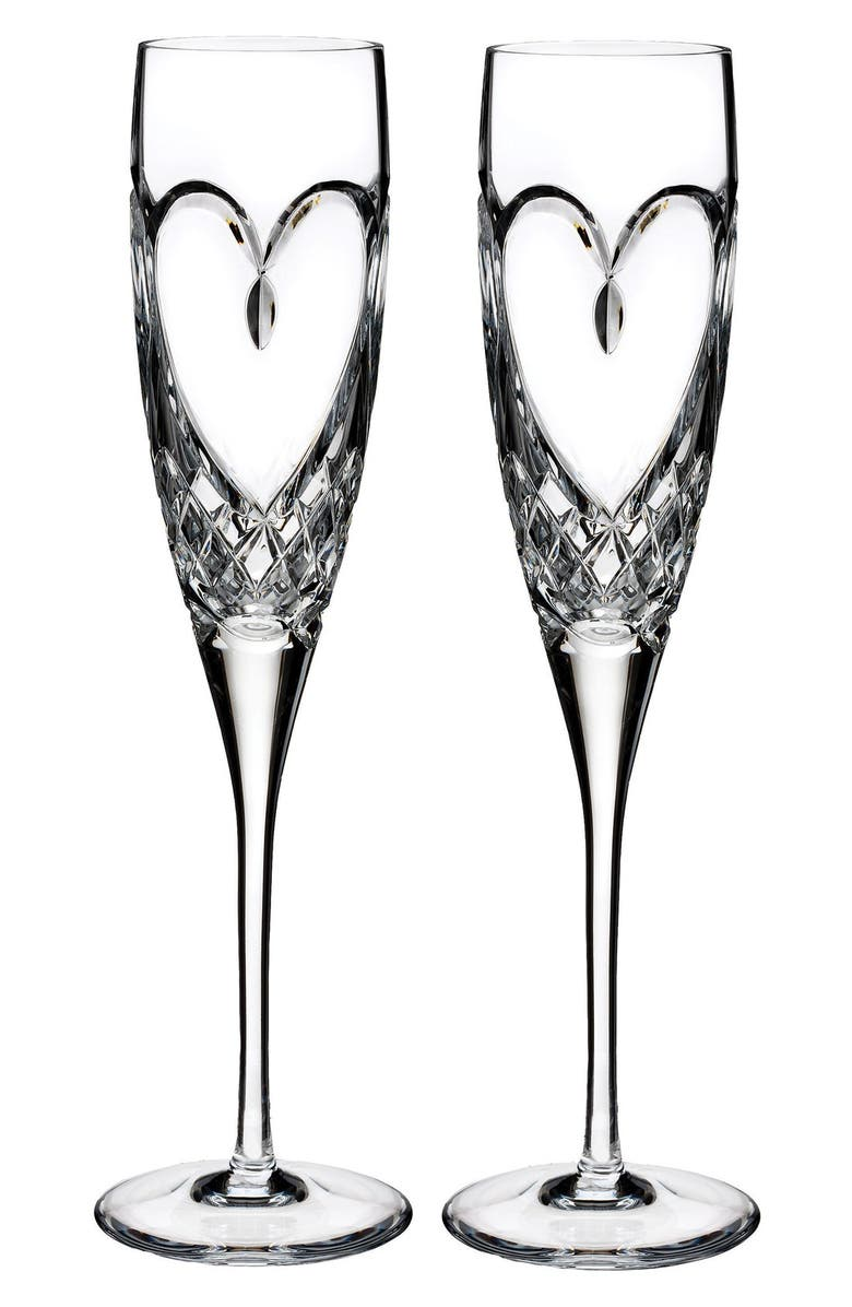 WATERFORD 'True Love' Lead Crystal Champagne Flutes, Main, color, CLEAR