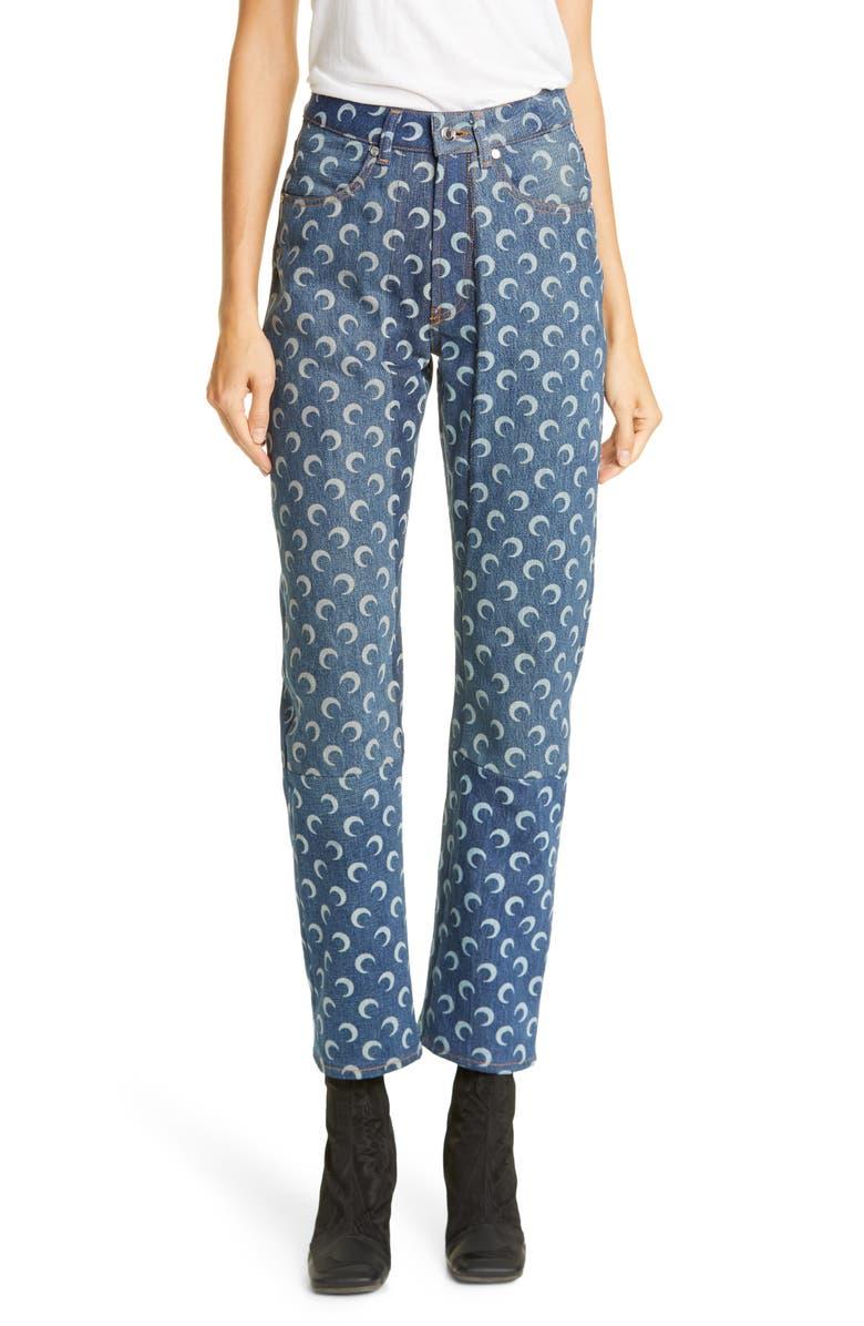 MARINE SERRE Moon Print Denim Pants, Main, color, BLUE/ WHITE MOON