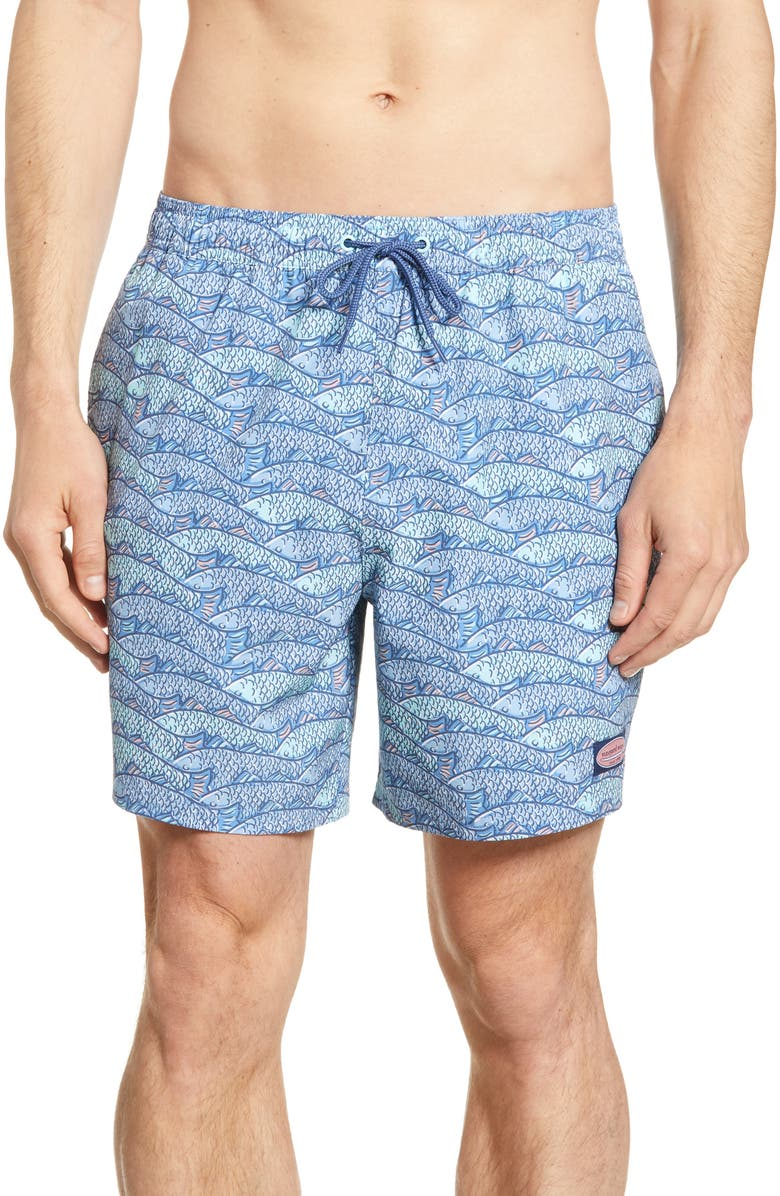 VINEYARD VINES Chappy Fish Traffic Swim Trunks, Main, color, CORNFLOWER