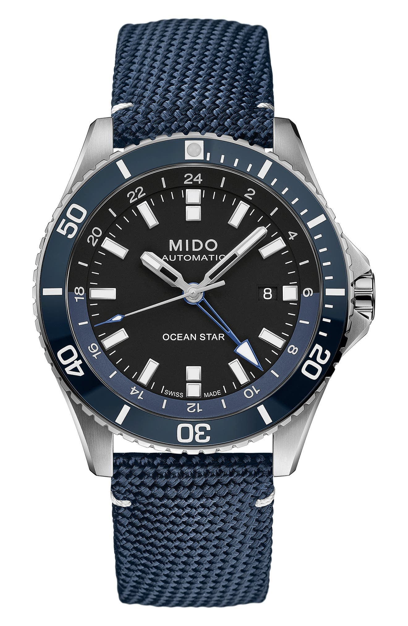 Ocean Star Gmt Automatic Canvas Strap Watch