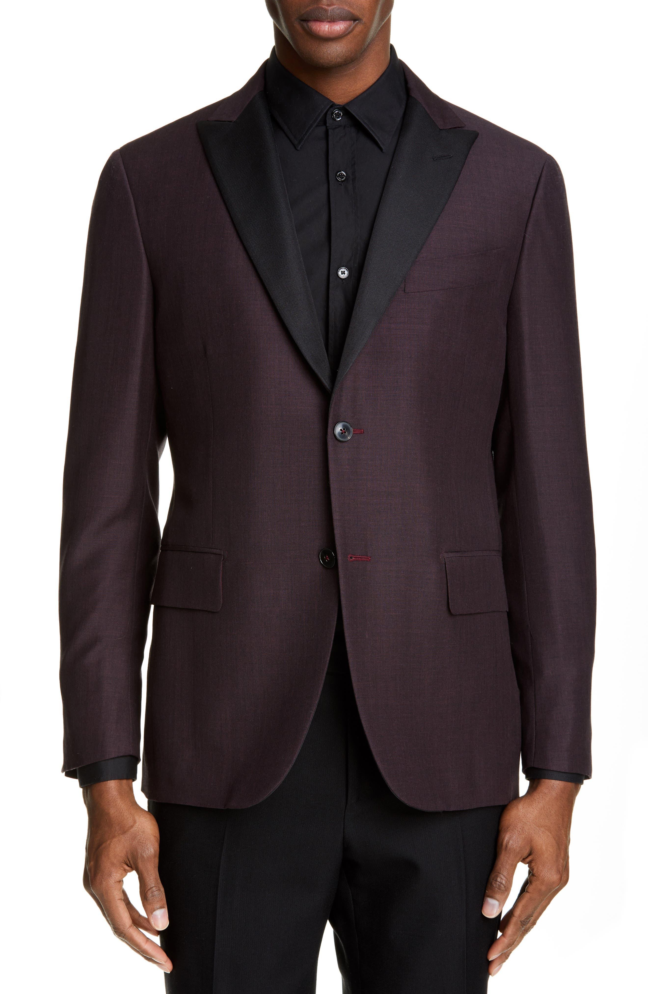 Balthazar Trim Fit Wool & Mohair Dinner Jacket, Main, color, BURGUNDY