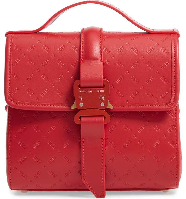 1017 ALYX 9SM Anna Embossed Logo Leather Shoulder Bag, Main, color, RED CHERRY