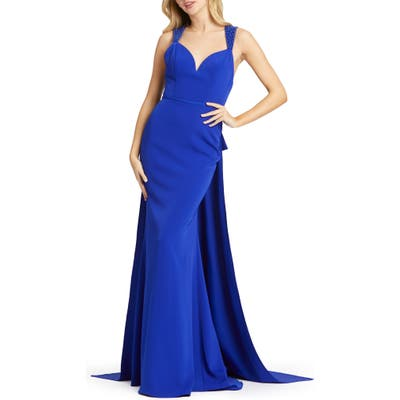 MAC Duggal Bow Sash Embellished Gown, Blue