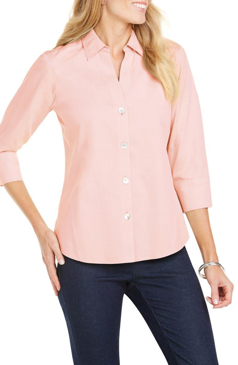 FOXCROFT Paityn Non-Iron Cotton Shirt, Main, color, CLOUD CORAL