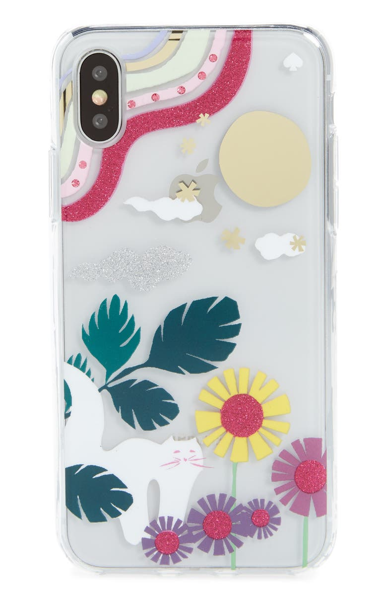 KATE SPADE NEW YORK glitter garden cat transparent iPhone X/Xs/Xs & XR Case, Main, color, 020